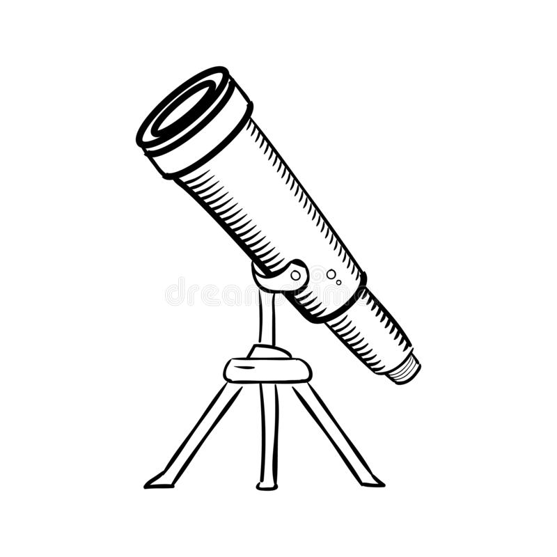 Handdrawn telescope doodle icon. Hand drawn black sketch. Sign cartoon symbol. Decoration element. White background. Isolated. stock illustration
