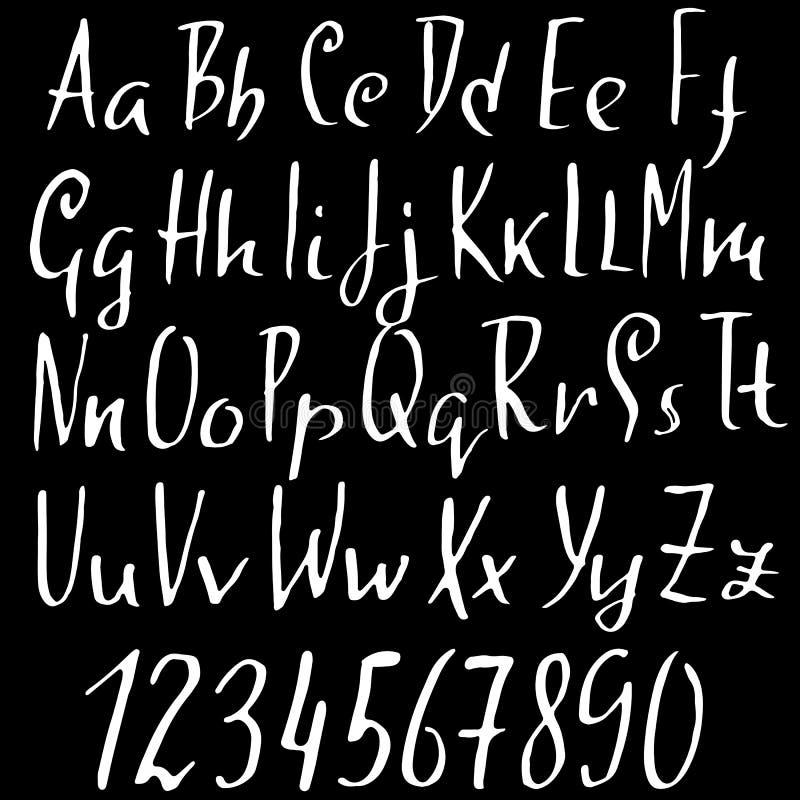 Handdrawn torka borstestilsorten Modern borstebokstäver Grungestilalfabet också vektor för coreldrawillustration royaltyfri illustrationer