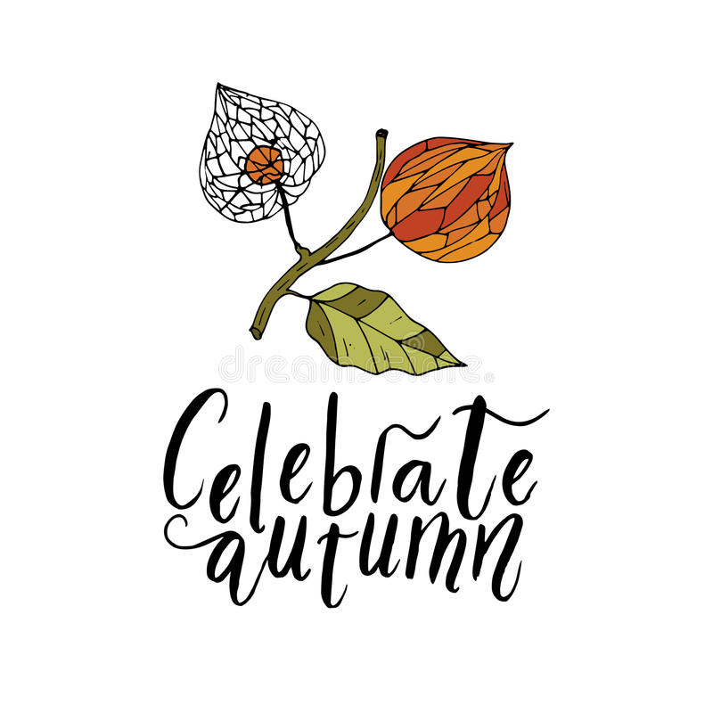 Free Handdrawn Unique Autumn Card With Brush Lettering Quote. Stock Photo - 96759100