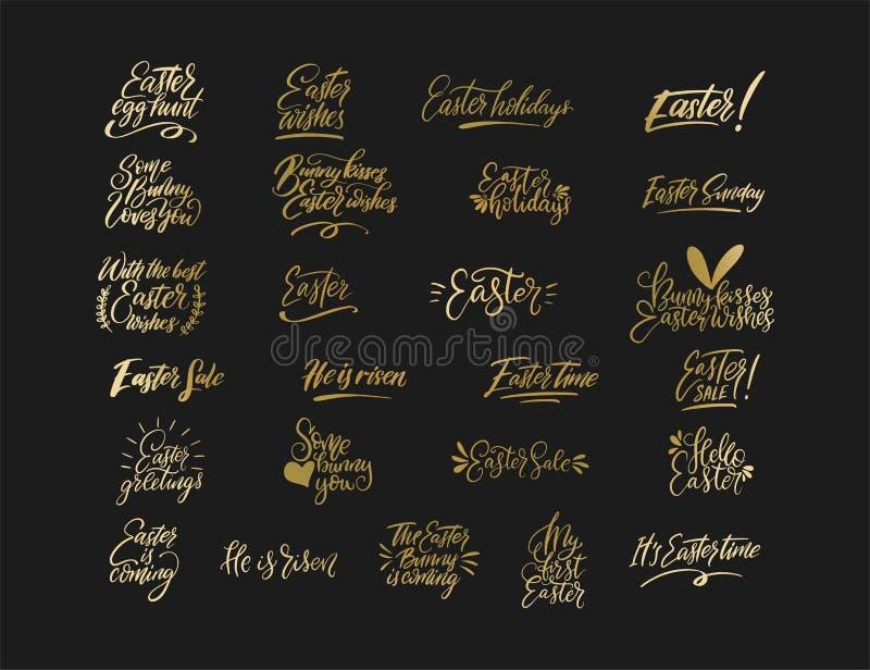 Handdrawn uppsättning för påskvektorbokstäver royaltyfri illustrationer