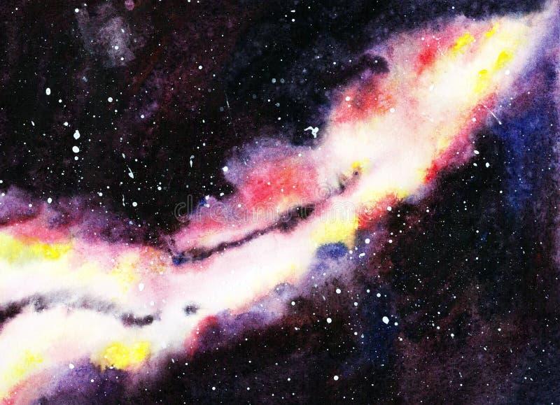 Handdrawn vattenfärggalax, stjärnor i nattutrymmet Härlig Vintergatan stock illustrationer