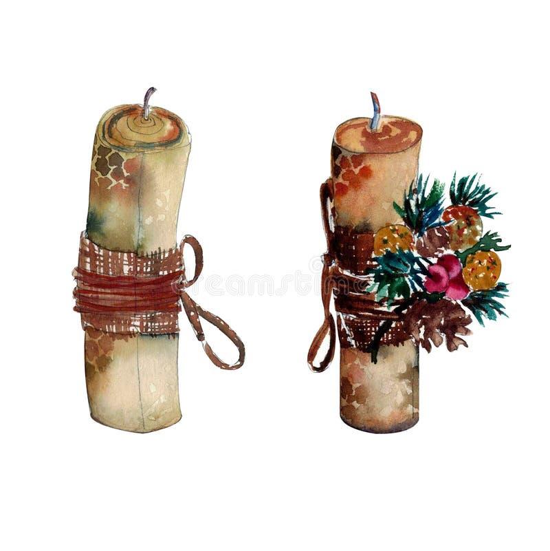 Handdrawn vattenfärgillustration som isoleras på vit bakgrund Härlig stearinljus som göras av bivax, dekorerat med a stock illustrationer