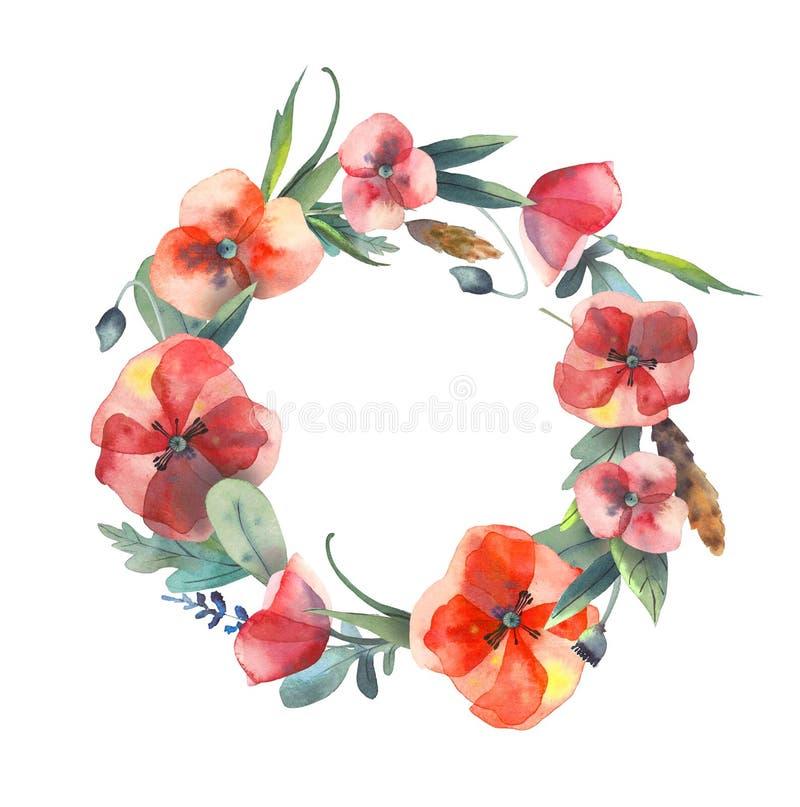 Handdrawn vattenf?rgkrans av l?sa ?rter, r?da blommor som isoleras p? vit bakgrund royaltyfri illustrationer