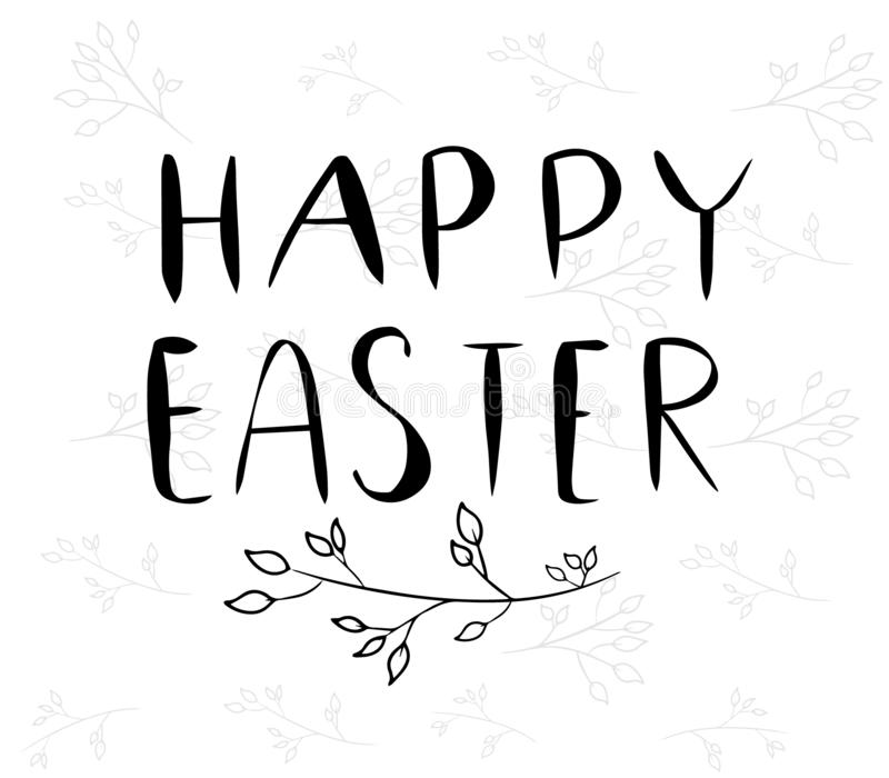 Handdrawn Vector Happy Easter in black color with leaf. Hand written lettering greeting card. Template for invitation. Isolated. On white background vector illustration