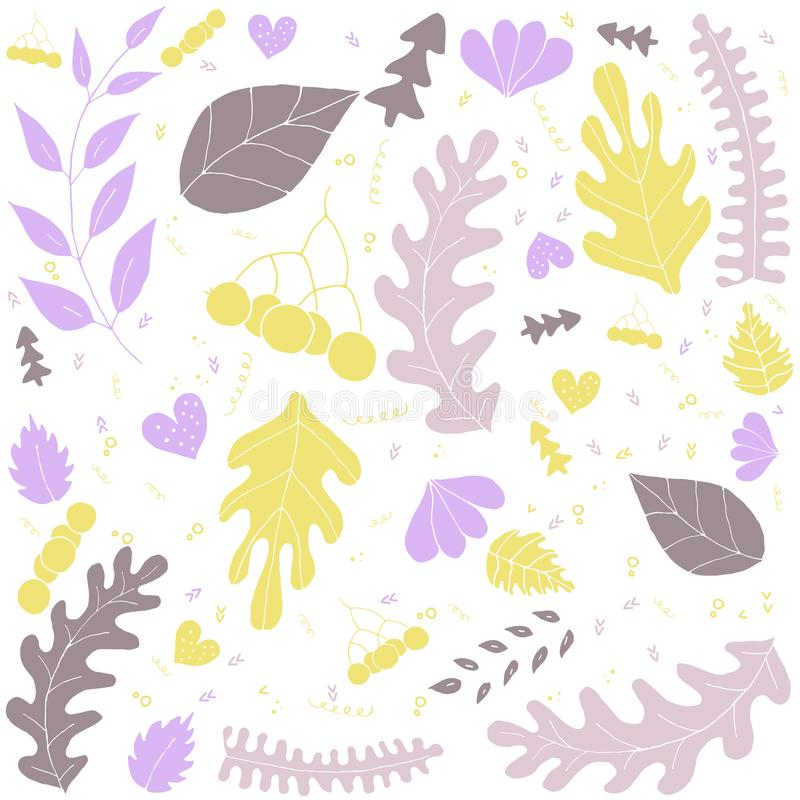 Handdrawn vector illustration with leaves on a white background. vector illustration