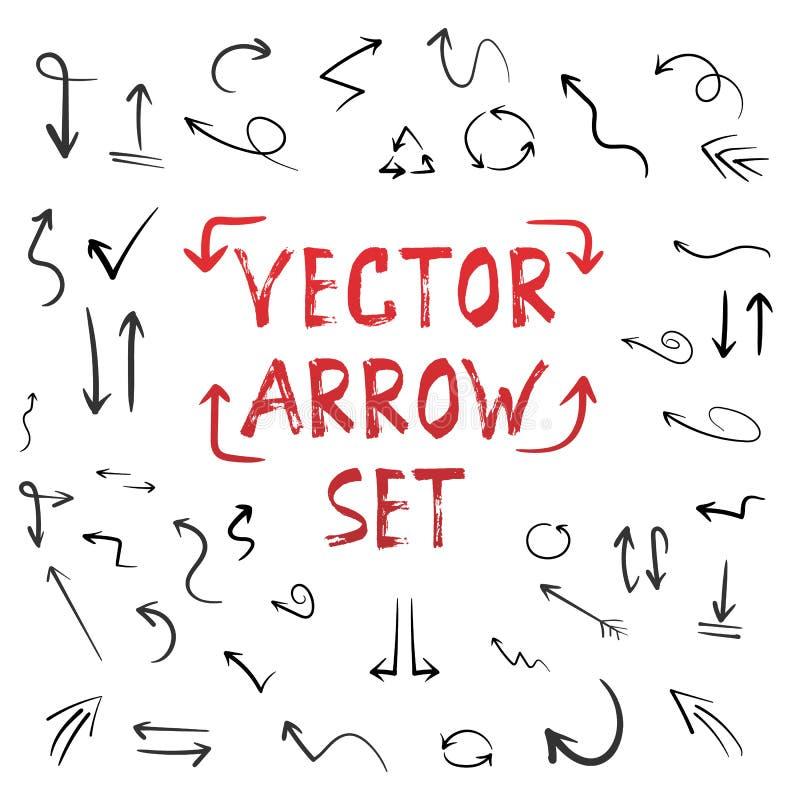 Handdrawn Vector Met de hand gemaakte die Pijlreeks op Witte Achtergrond wordt geïsoleerd stock illustratie