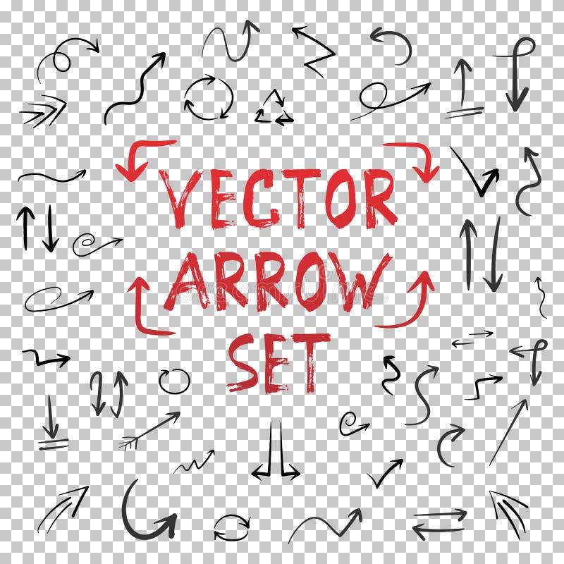 Handdrawn Vector Met de hand gemaakte Pijlreeks  royalty-vrije illustratie