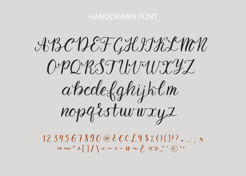 Handdrawn Vector Script font. Brush style textured calligraphy cursive typeface. royalty free illustration