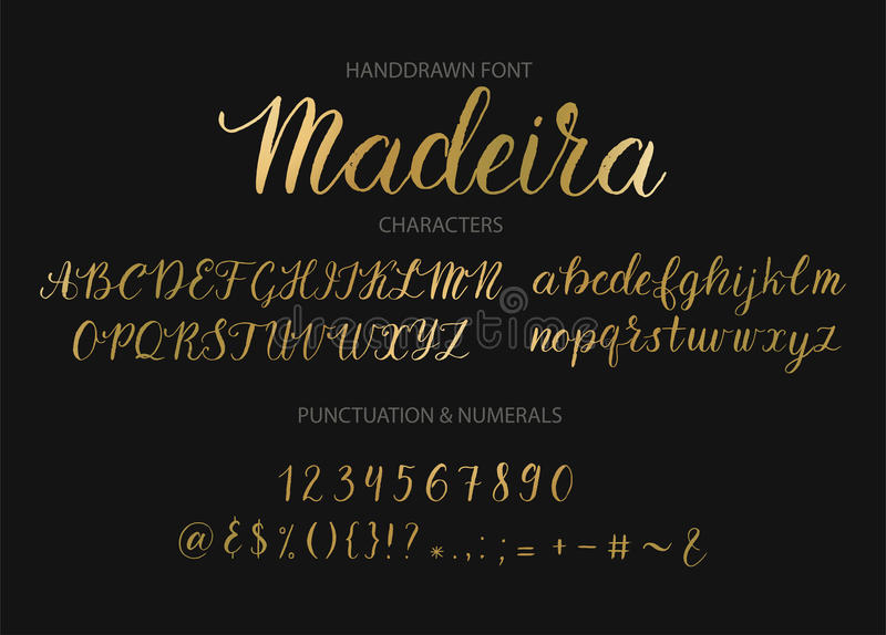 Handdrawn Vector Script font. Brush style textured calligraphy cursive typeface. royalty free stock photos