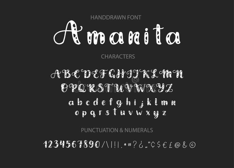 Handdrawn Vector Script font. Display style cartoon typeface. stock illustration