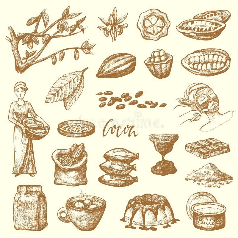 Handdrawn vektorkakaoprodukter skissar illustrationen för produktion för kakao för klottermatchoklad den söta royaltyfri illustrationer