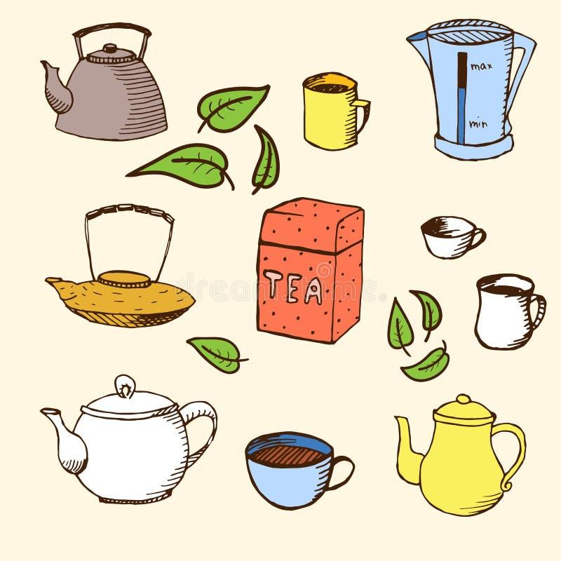 Handdrawn Vektorsatz für Ihr Design: Tee stock abbildung