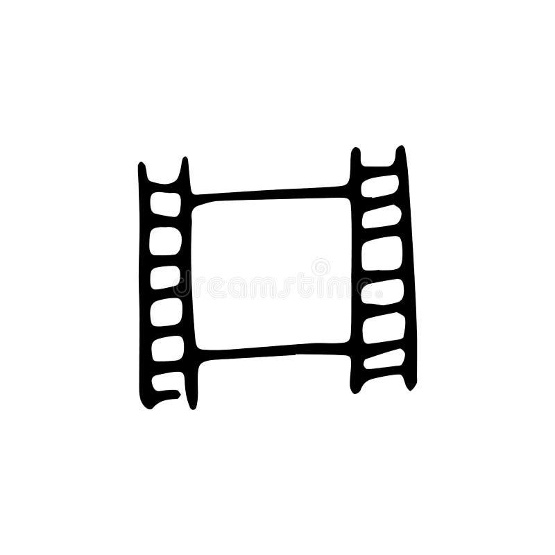 Handdrawn Videobandgekritzelikone Hand gezeichnete schwarze Skizze Zeichen S lizenzfreie abbildung