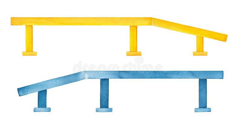 Watercolour set of modern square skateboarding rails for jumping and professional tricks. Handdrawn water color sketchy painting on white background, cutout vector illustration
