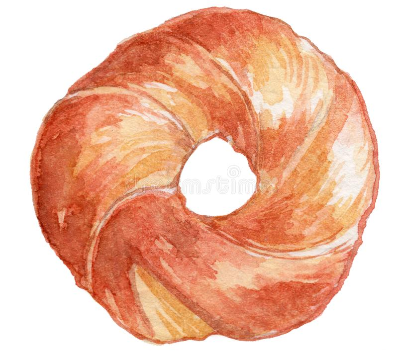 Bagel Watercolor Illustration 2 royalty free stock photography