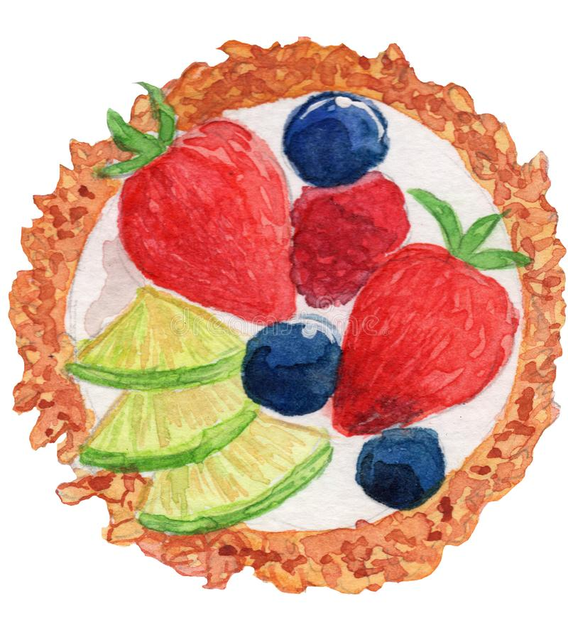 Fruit Tart Watercolor Illustration stock photos
