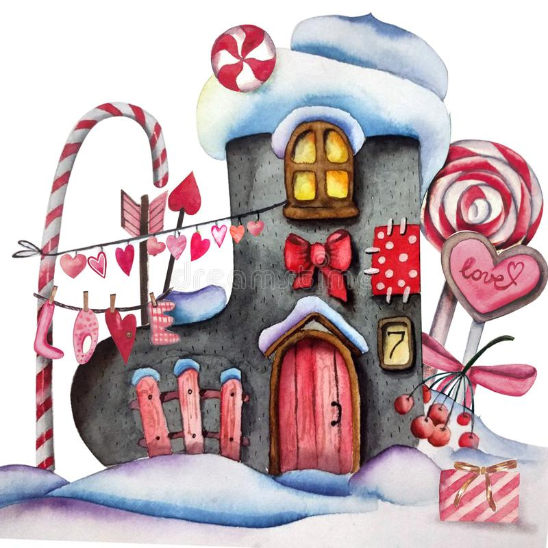 Handdrawn watercolor illustration isolated on white background. St. Valentine`s day felt boot house with lights, hearts stock illustration