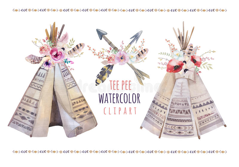 Handdrawn watercolor tribal teepee, isolated white campsite ten stock illustration