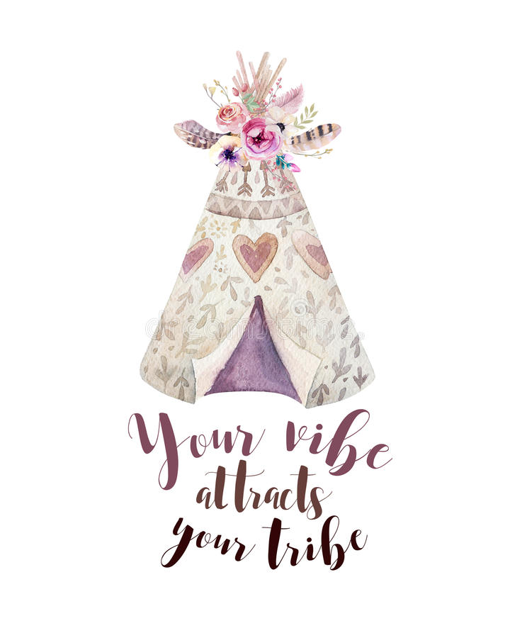 Handdrawn watercolor tribal teepee, isolated white with quote. tent and arrow. Boho America traditional native ornament. Indian te. E-pee with arrows, feathers stock illustration