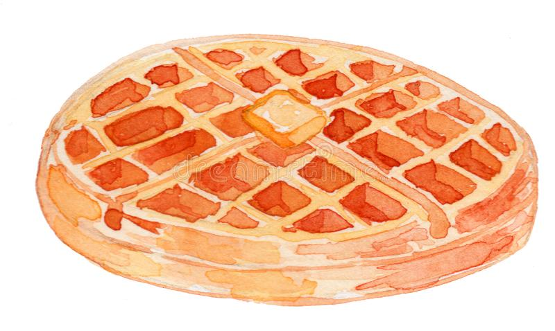 Waffle bread Watercolor Illustration stock photography