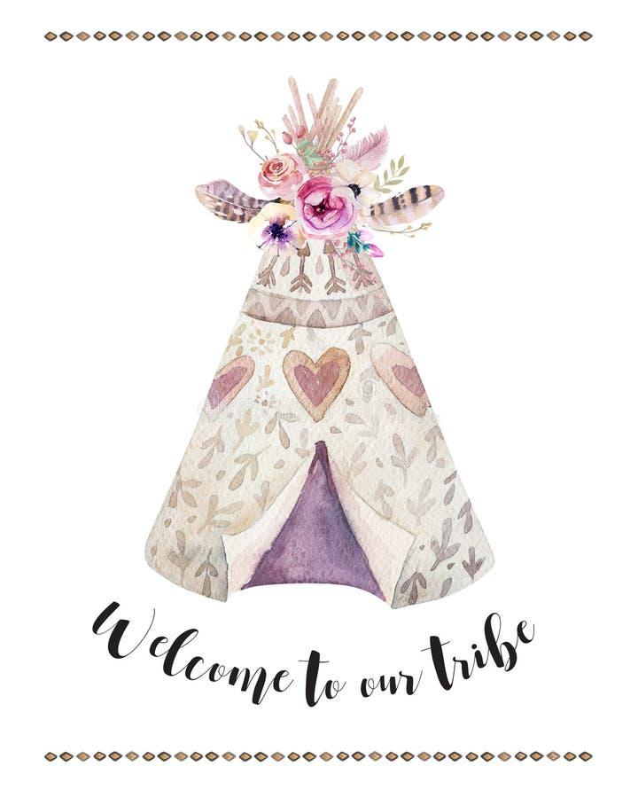 Handdrawn waterverf stammentipi, wit met citaat tent en pijl Het traditionele inheemse ornament van Bohoamerika royalty-vrije illustratie