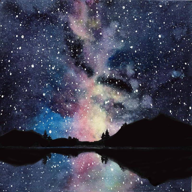 Handdrawn waterverfmelkweg, sterren in de nachtruimte Mooie Melkweg stock illustratie