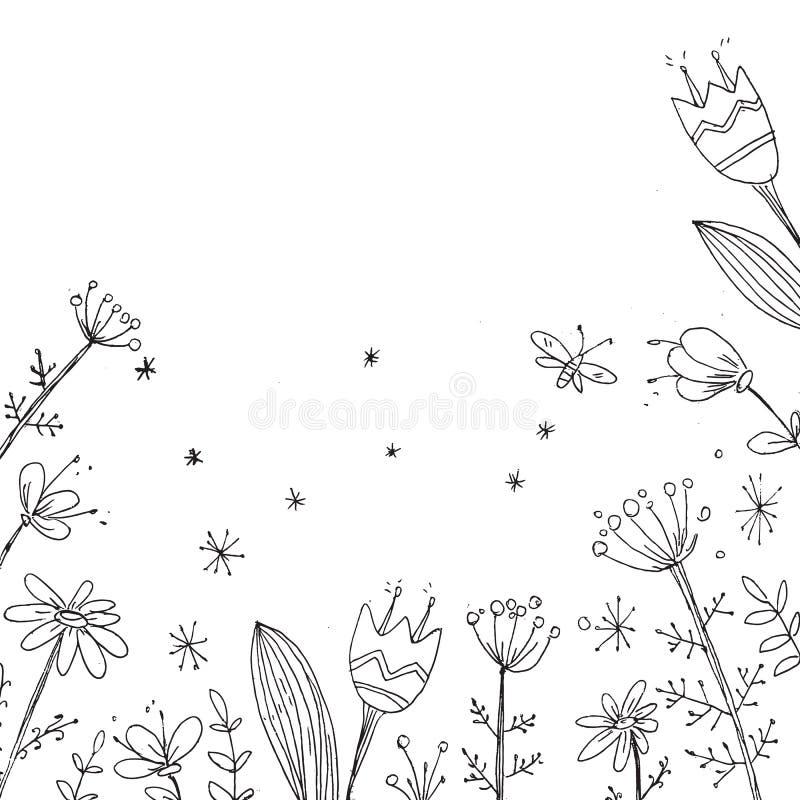 Handdrawn wektorowy kwiecisty tło Prości doodle kwiaty czerń ilustracja wektor