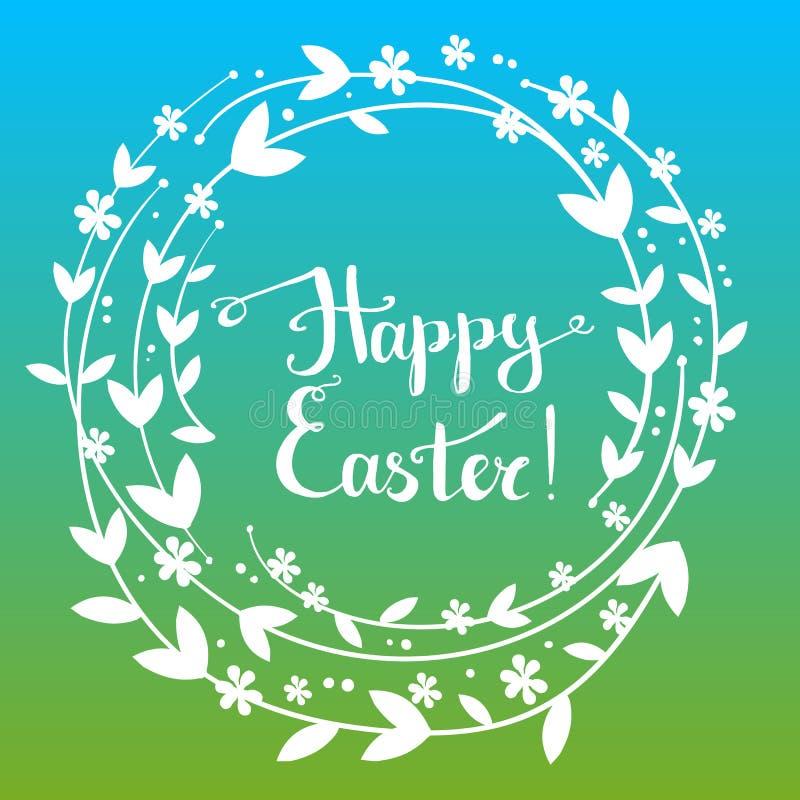 Handdrawn wektorowy szczęśliwy Easter kartka z pozdrowieniami z ręcznie pisany tex ilustracja wektor