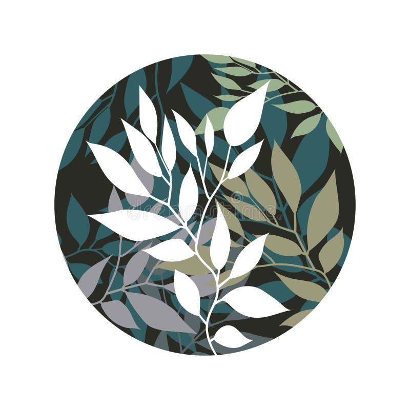 Handdrawn Wektorowy Watercolour styl, natury ilustracja Tło z liśćmi i gałąź obraz royalty free