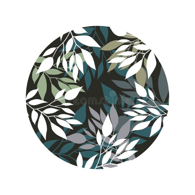 Handdrawn Wektorowy Watercolour styl, natury ilustracja Tło z liśćmi i gałąź zdjęcie royalty free