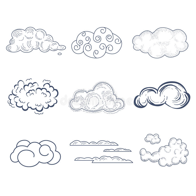 Handdrawn Wolken-Sammlung Auch im corel abgehobenen Betrag lizenzfreie abbildung