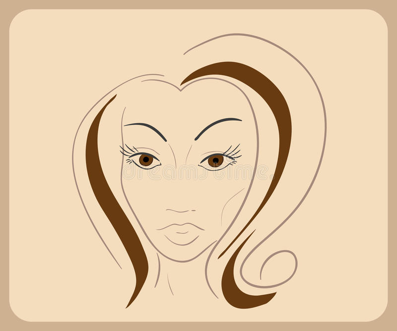 Handdrawn woman face with sensual eyes and brown vector illustration
