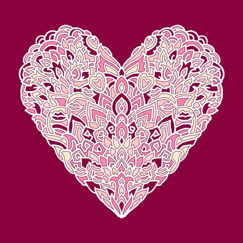 Handdrawn zentanglehjärta Mandalastildesign för kort för St-valentindag Modell för färgläggningbok vektorklotter royaltyfri illustrationer