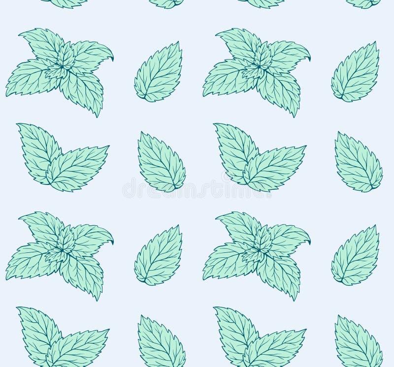 Handdrawn zieleni liście wybijają monety bezszwowego wzór royalty ilustracja