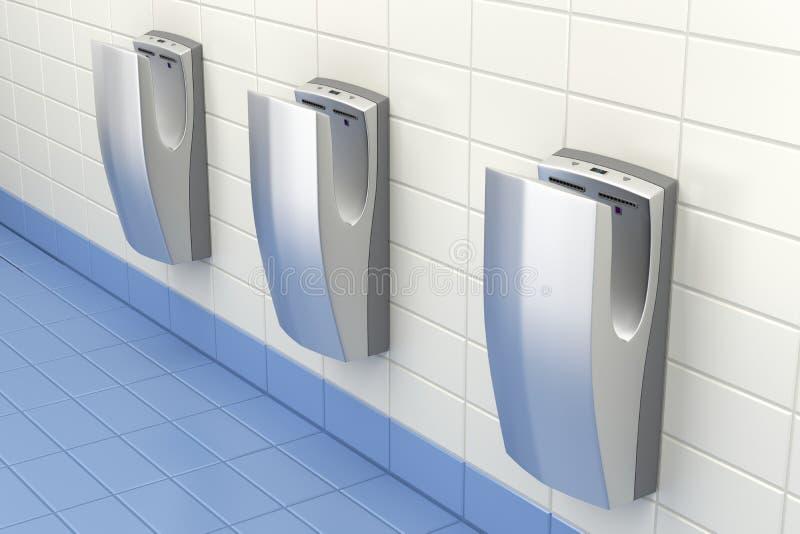 Handdrogers in openbaar toilet royalty-vrije illustratie