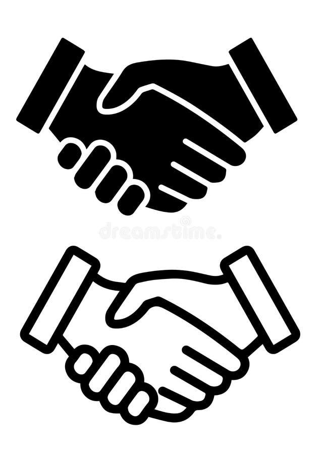 Handdruk-contract overeenkomsten vlak vectorpictogram royalty-vrije illustratie