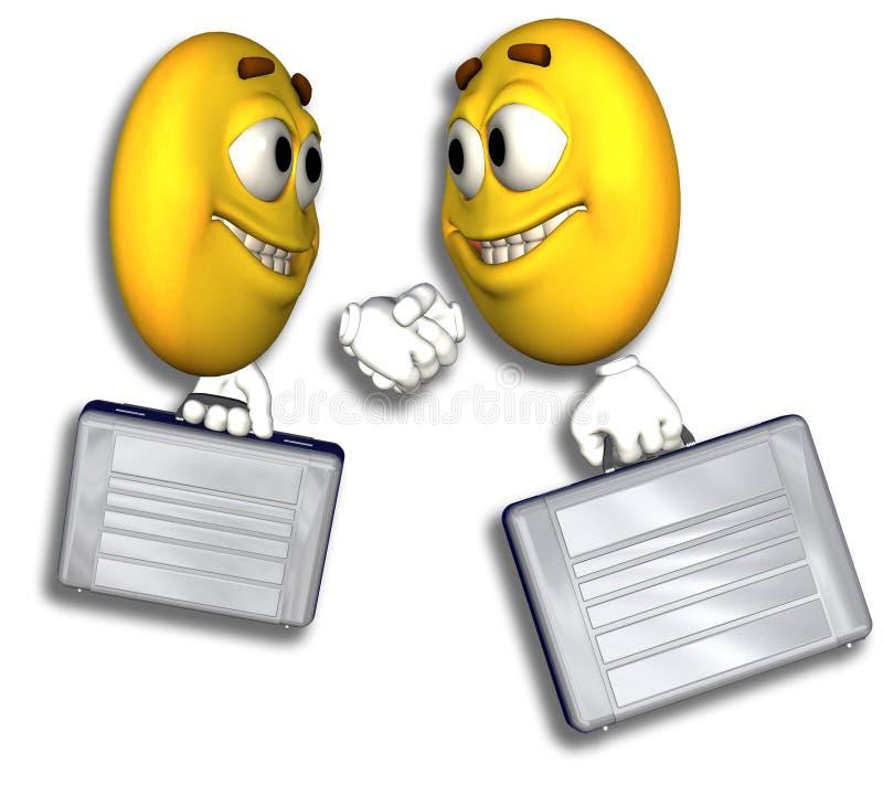 Handdruk de bedrijfs van Emoticon vector illustratie
