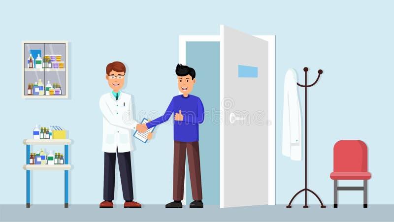 Handdruk een arts met patiënt royalty-vrije illustratie