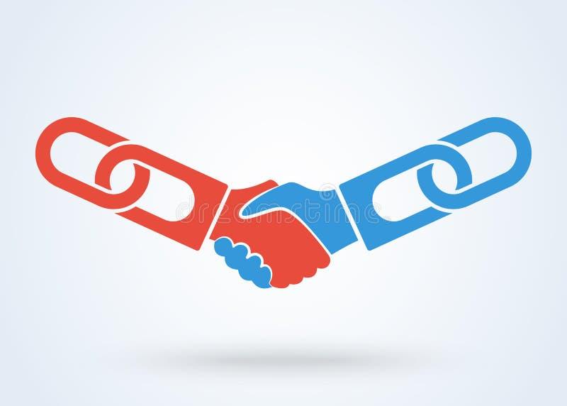 Handdruk, Groepswerkhanden Logo Vector Van de de bedrijfs overeenkomstenhanddruk van de Blockchaintechnologie concept royalty-vrije illustratie