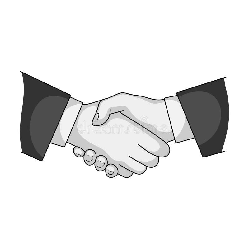 Handdruk Makelaar in onroerend goed enig pictogram in het zwart-wit Web van de de voorraadillustratie van het stijl vectorsymbool royalty-vrije illustratie