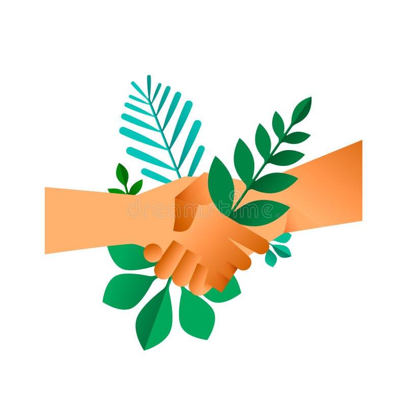 Handdruk met groene bladeren voor transactie vector illustratie