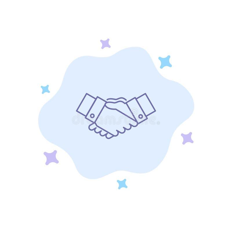 Handdruk, Overeenkomst, Zaken, Handen, Partners, Vennootschap Blauw Pictogram op Abstracte Wolkenachtergrond stock illustratie
