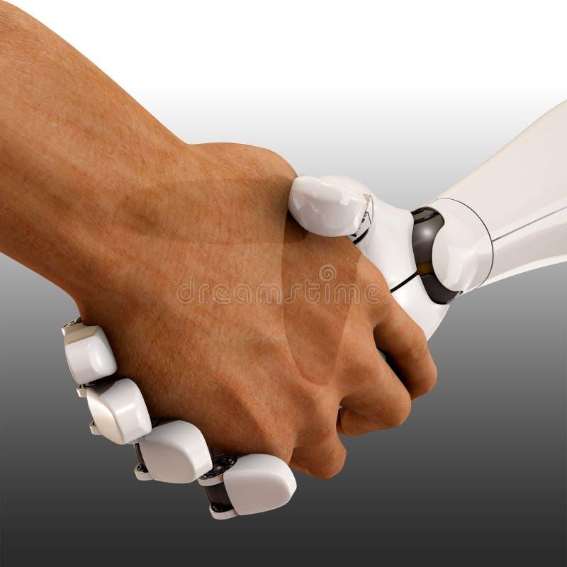 Handdruk tussen de mens en robot vector illustratie