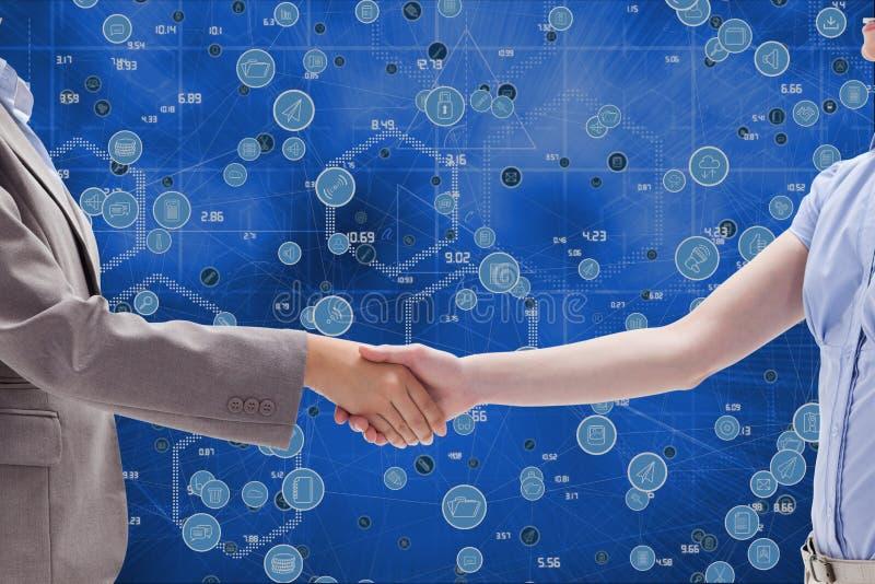 Handdruk tussen een zakenman en een onderneemster tegen pictogrammenachtergrond stock afbeelding
