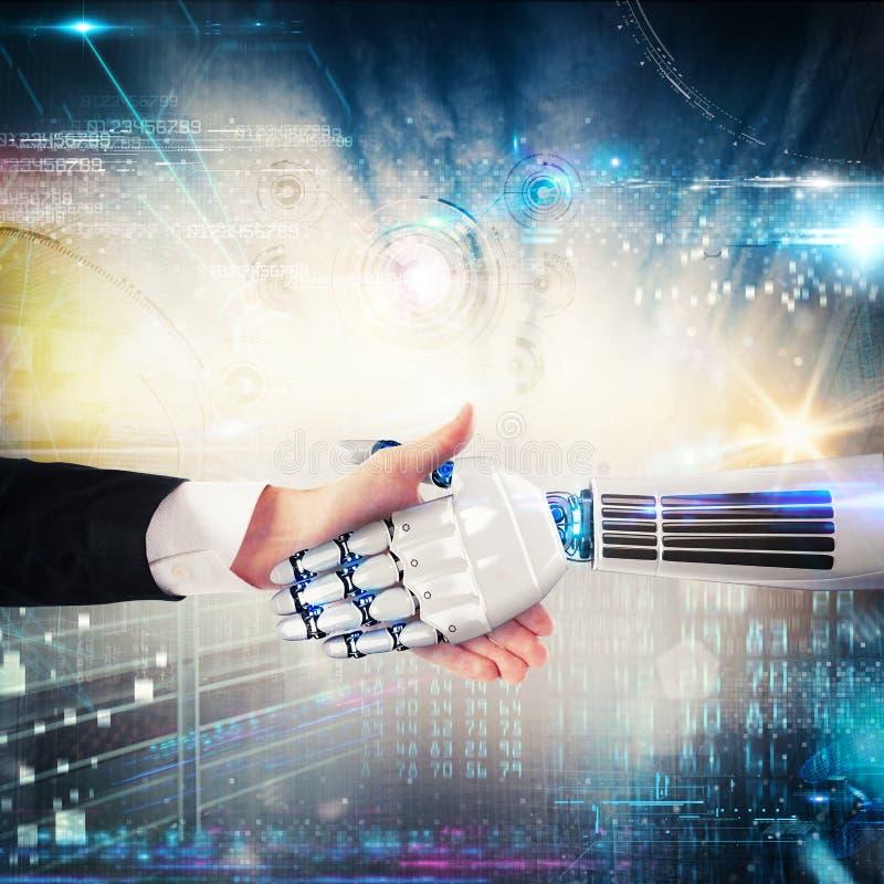 Handdruk tussen mens en robot het 3d teruggeven stock foto