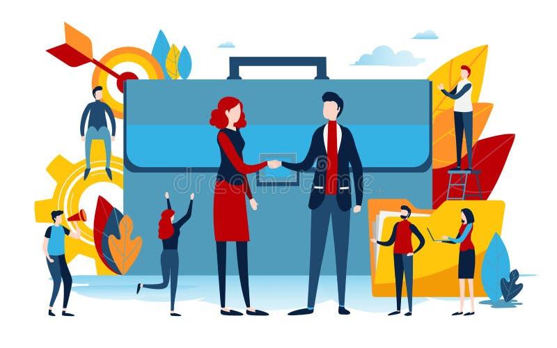 Handdruk van bedrijfsmensen groepswerk, samen De vlakke grafische vector van de beeldverhaal miniatuurillustratie vector illustratie