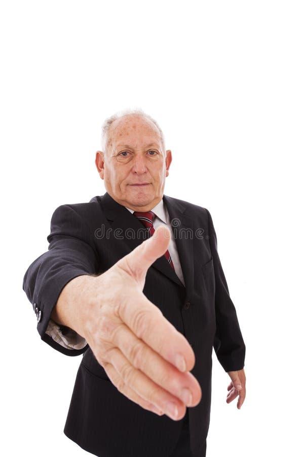Handdruk van een hogere zakenman stock foto