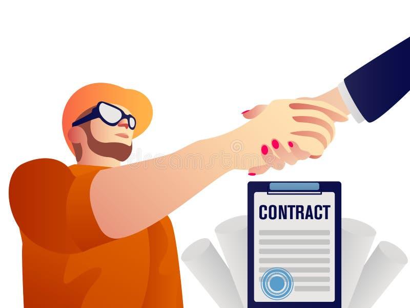 Handdruk van partners De vector isoleerde herstellerarbeider en de zakenman kwam aan een overeenkomst royalty-vrije illustratie