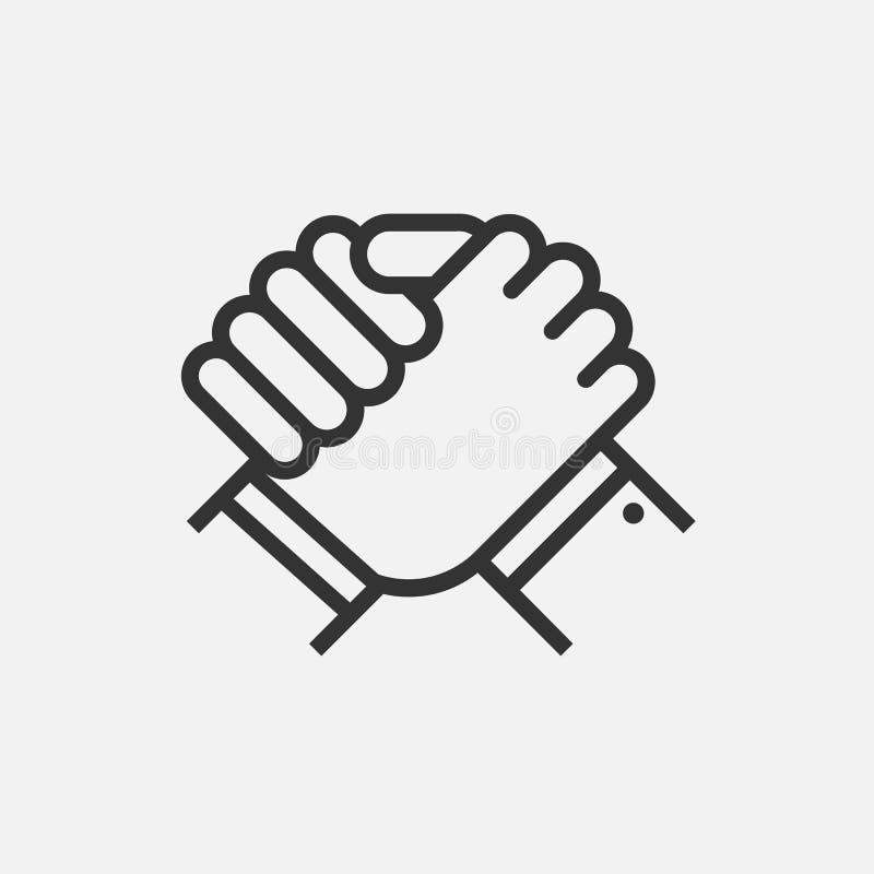 Handdruk van partners Menselijke groet Wapen het worstelen symbool Vector illustratie stock illustratie