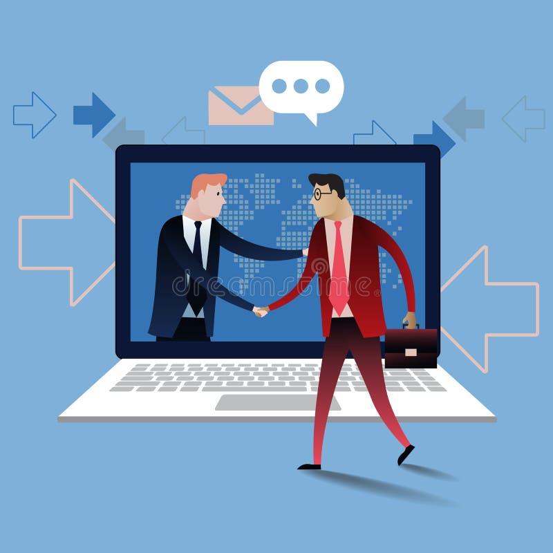 Handdruk van twee bedrijfsmensen met laptop achtergrond Online overeenkomst vector illustratie